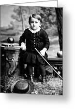 Portrait Headshot Toddler Walking Stick 1880s Greeting Card