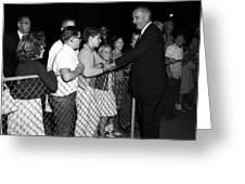 President Lyndon Johnson Shaking Childrens Hands Greeting Card