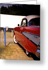 Red Chevy At The Drive-in Greeting Card