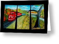 Red Train Passage Dreamy Mirage Greeting Card