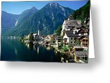 Riverfront  Reflection Austria Greeting Card