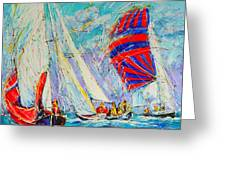 Sail Of Amsterdam II - Tree Sailboats  Greeting Card