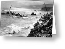 Shipwreck In Rough Seas 1940s Black White Greeting Card