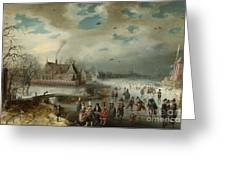 Skating On The Frozen Amstel River  Greeting Card