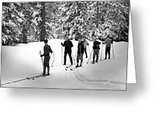 Skiers January 19 1967 Black White 1960s Archive Greeting Card