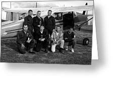 Skydiving Team Posing Airplane Circa 1960 Black Greeting Card