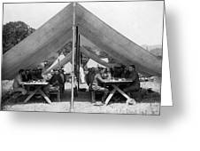 Soldiers Eating In Mess Tent 19061909 Black Greeting Card