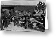 Soldiers Loading Cannon 19171918 Black White Greeting Card