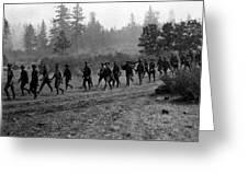 Soldiers Maneuvers Circa 1908 Black White 1900s Greeting Card