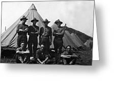 Soldiers Posing In Front Tents 19171918 Black Greeting Card