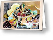 Still Life With Fish And Fresh  Fruits Greeting Card by Therese AbouNader