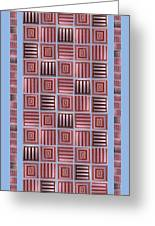 Striped Squares On A Blue Background Greeting Card