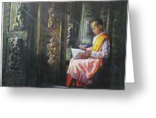 Studying Nun Greeting Card