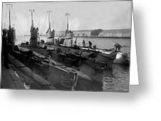 Submarines In Harbor Circa 1918 Black White Greeting Card