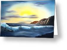 Sunset Beach Pastel Splash Dreamy Mirage Greeting Card
