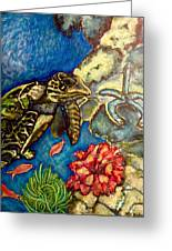Sweet Mystery Of The Sea A Hawksbill Sea Turtle Coasting In The Coral Reefs Original Greeting Card
