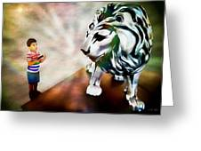 The Boy And The Lion 2 Greeting Card