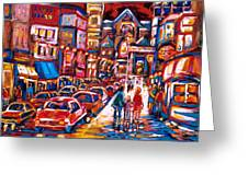The Night Life On Crescent Street Greeting Card