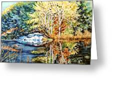 The Tree Across The Pond  Greeting Card
