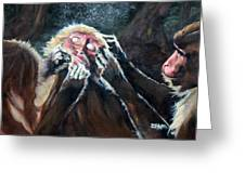 Three Monkeys Greeting Card