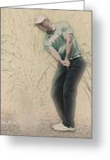 Tiger Woods Hits From A Access Road Greeting Card