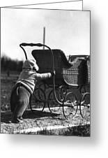 Toddler Pushing Baby Buggy 1926 Black White Boy Greeting Card