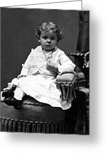Toddler Sitting In Chair 1890s Black White Boy Greeting Card