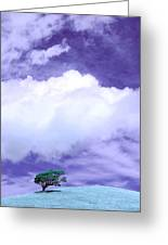 Tree Clouds Hill Greeting Card
