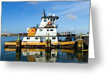 Tug Indian River Is Part Of The Scene At Port Canvaeral Florida Greeting Card