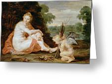 Venus And Cupid Warming Themselves  Greeting Card