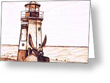 Vermilion Lighthouse Greeting Card