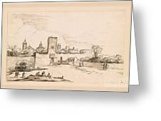View Of A Walled Town Greeting Card