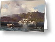 View Of Isola San Giulio In Lake Orta Greeting Card