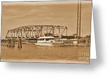 Vintage Swing Bridge In Sepia 2 Greeting Card