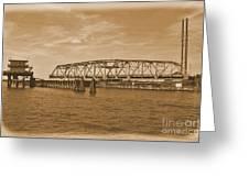 Vintage Swing Bridge In Sepia 4 Greeting Card