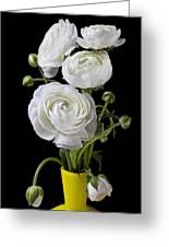 White Ranunculus In Yellow Vase Greeting Card