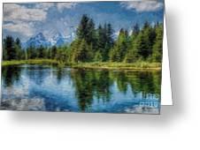 Wyoming Tetons Spruce Mountain Lake. Oil Painting . Greeting Card