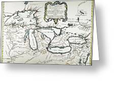 Great Lakes Map, 1755 Greeting Card
