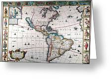 New World Map, 1616 Greeting Card