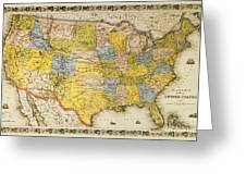 United States Map, 1866 Greeting Card