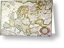 Map Of Europe, 1623 Greeting Card