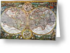 World Map, 1607 Greeting Card
