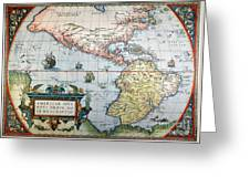New World Map, 1570 Greeting Card