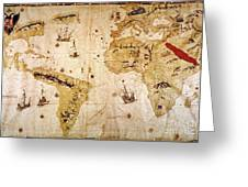 Vespucci's World Map, 1526 Greeting Card