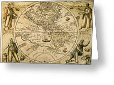 W. Hemisphere Map, 1596 Greeting Card