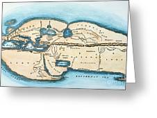 Strabo World Map, C20 A.d Greeting Card