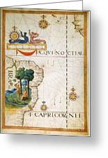 Brazil: Map And Native Indians Greeting Card
