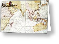 Indian Ocean: Map, 1705 Greeting Card