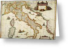 Map Of Italy, 1631 Greeting Card