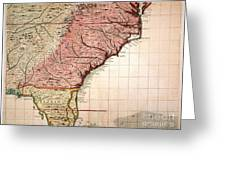Colonial America Map, 1733 Greeting Card